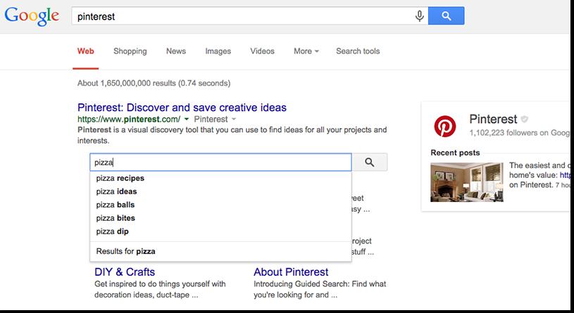 """1 ví dụ cho kết quả tìm kiếm từ khóa """"Pinterest"""""""