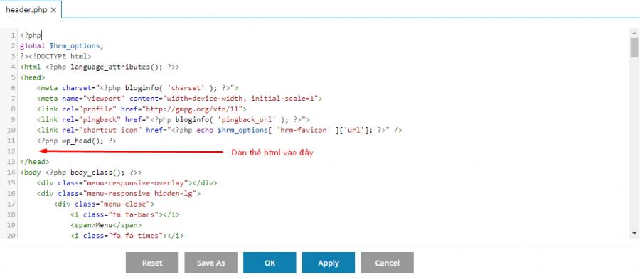 xác minh search console bằng thẻ html