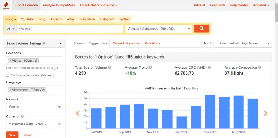 Sử dụng công cụ Keywordtool.io để tìm kiếm truy vấn