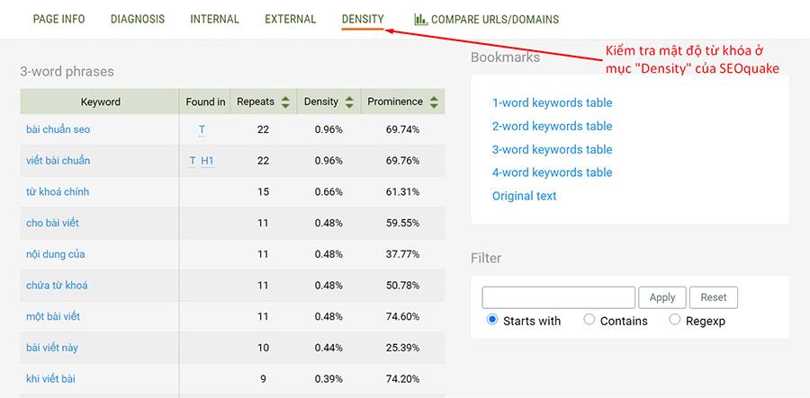 """Kiểm tra mật độ từ khóa trong trang ở phần """"Density"""" của công cụ SEOquake"""