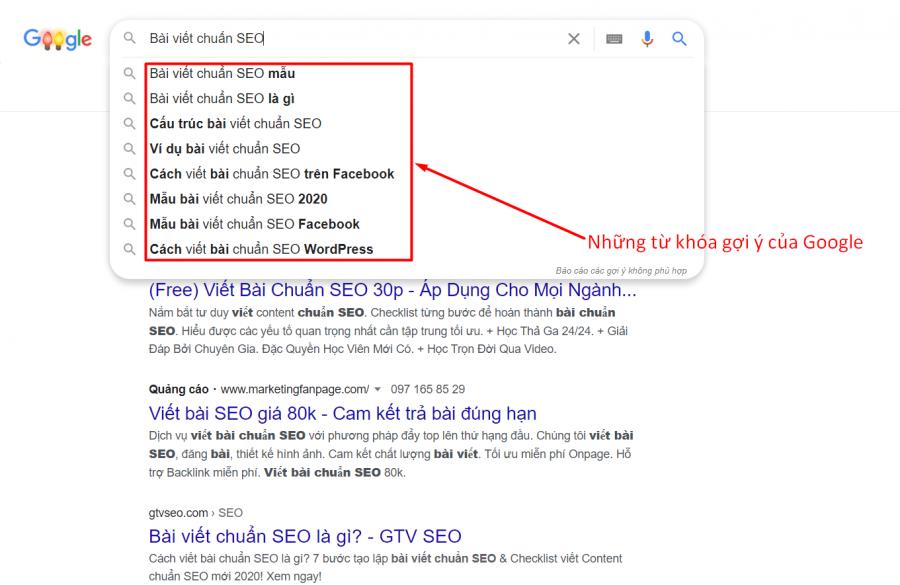 Google gợi ý từ khoá liên quan