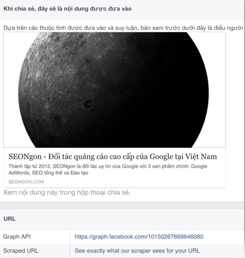 Thumbnail bài viết khi up lên Facebook