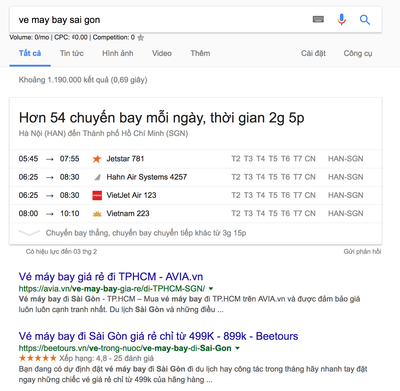 Google hien thi thong tin chuyen bay