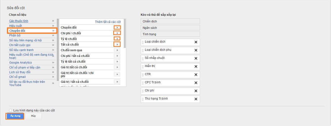 chỉ số quản lý google adwords nâng cao adwords 1