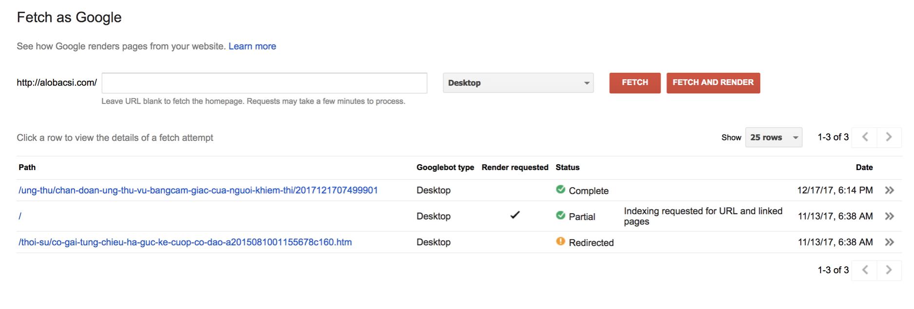 Chức năng yêu cầu Google quét, thu thập dữ liệu