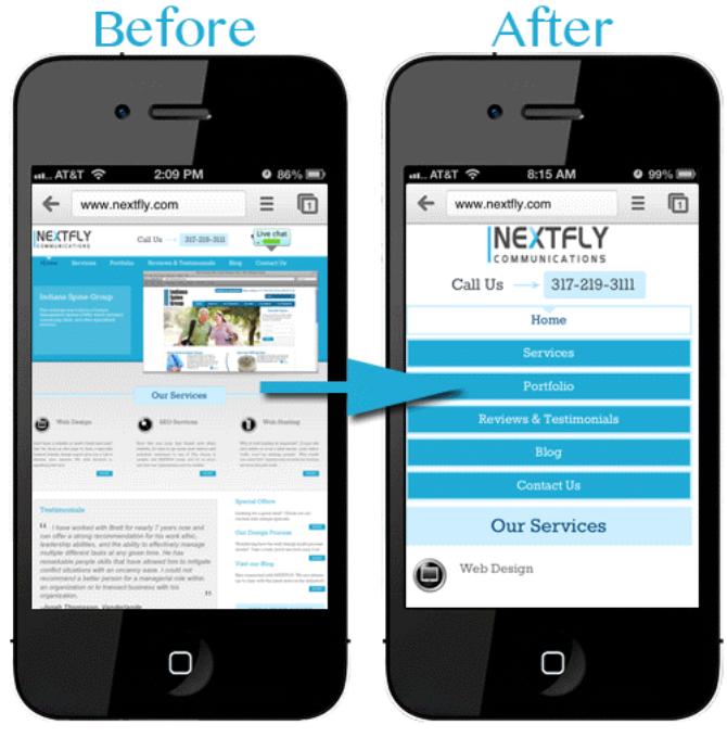 Giao diện mobile website sẽ cần các icon, menu lớn hơn dễ thao tác hơn