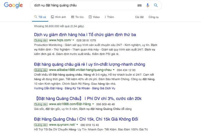 Giao diện quảng cáo trên google ads