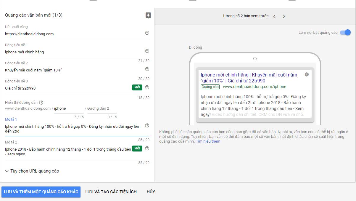 viết nội dung quảng cáo google ads