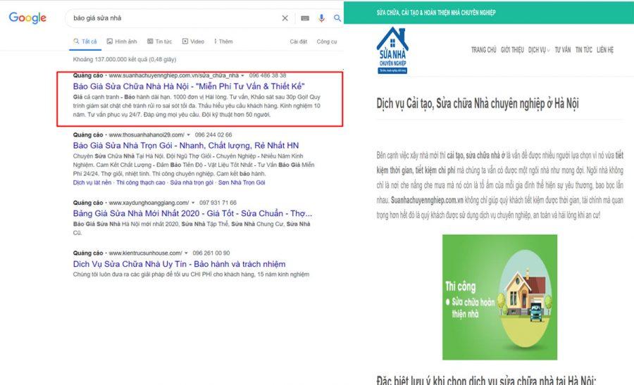 ví dụ về lỗi chạy quảng cáo google: Từ khóa về giá nhưng trang đích không có giá