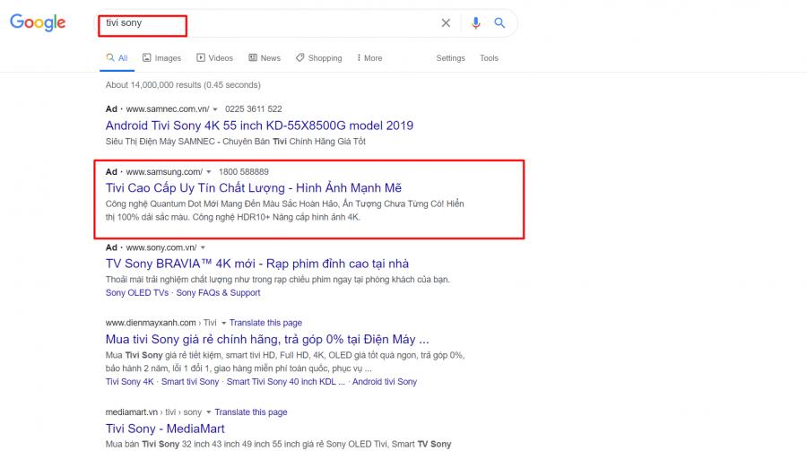 ví dụ về lỗi khi chạy quảng cáo từ khóa Google nhưng không chứa từ khóa