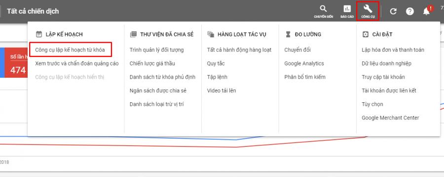 Cách vào công cụ lập kế hoạch từ khóa để chạy quảng cáo google