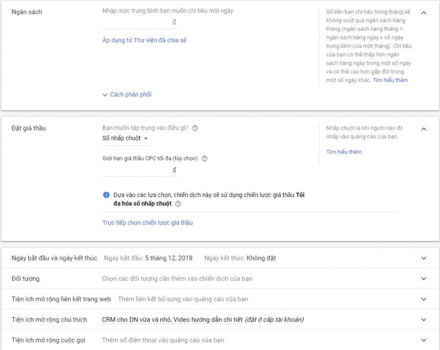 thiết lập ngân sách chạy quảng cáo Google adwords