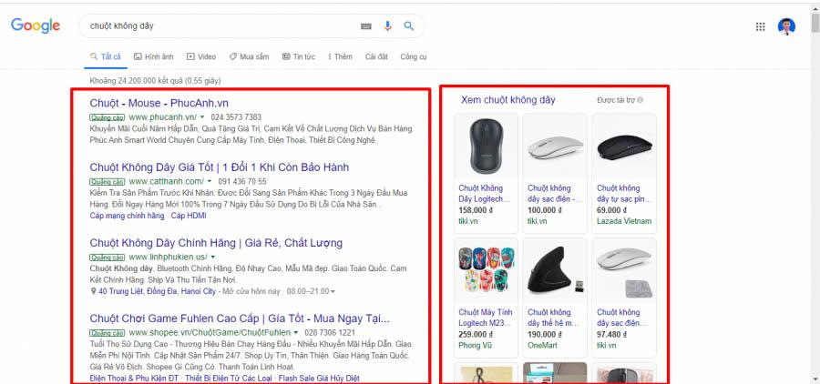 Quảng cáo Google shopping hiển thị phần bên phải của SERPs