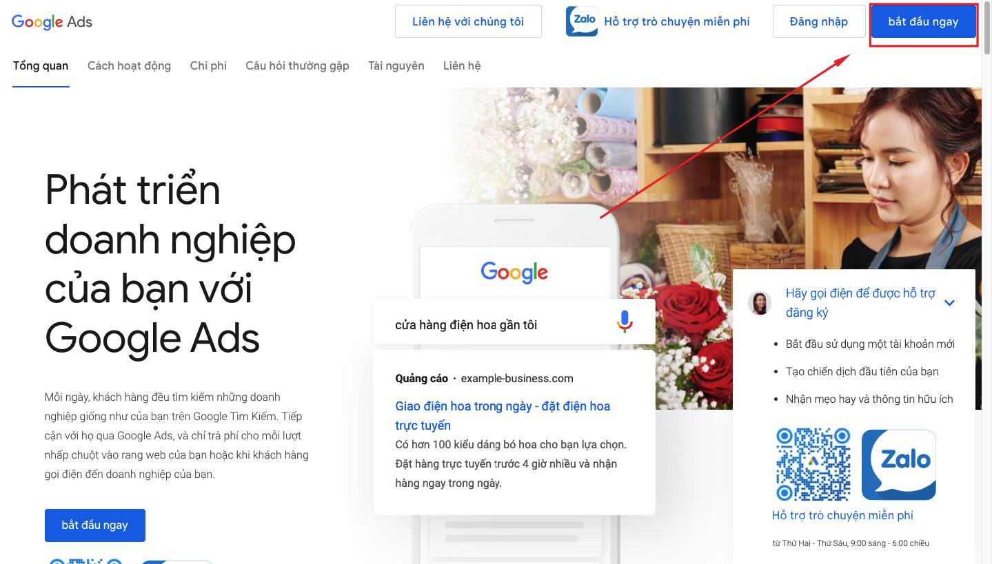 tạo quảng cáo Google adwords