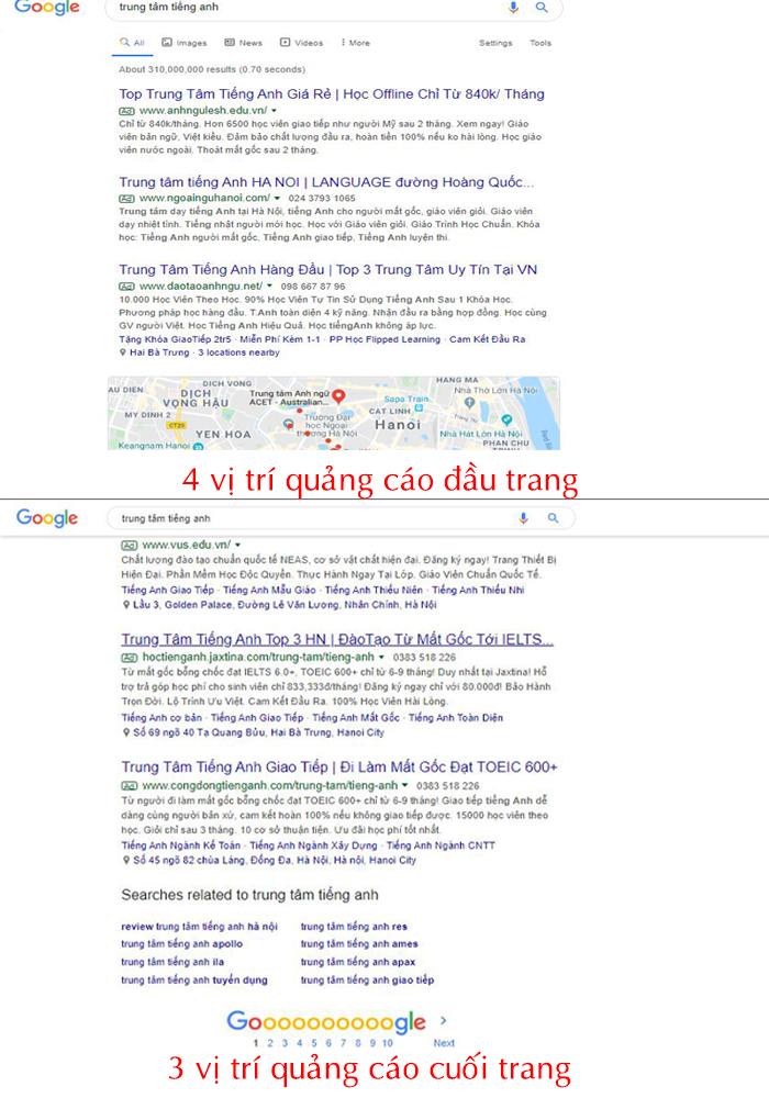 7 vị trí quảng cáo google search