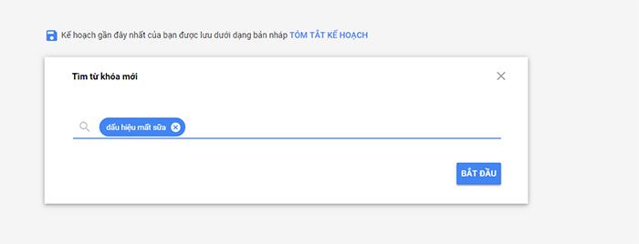 Tìm từ khoá trong keyword planer