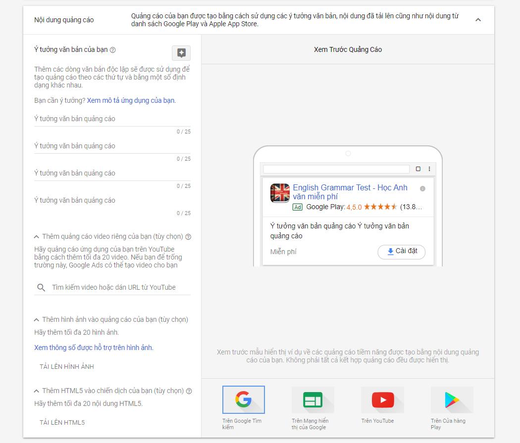 Nội dung quảng cáo Google Play