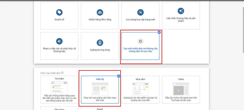 Lựa chọn mục tiêu quảng cáo Google Display Network