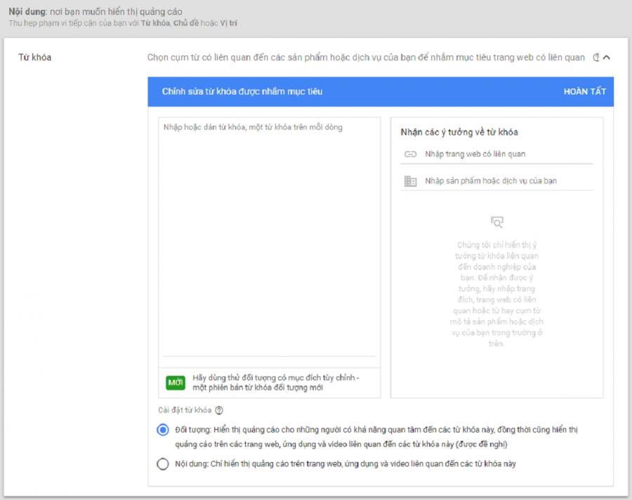 tìm ý tưởng từ khóa google dislay network