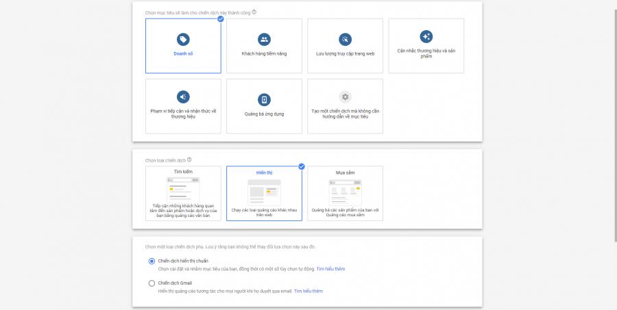 Cài đặt doanh số và hiển thị google dislay network