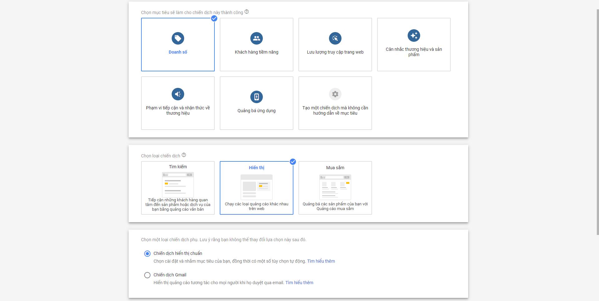 Chiến dịch hiển thị trong Google Display Network