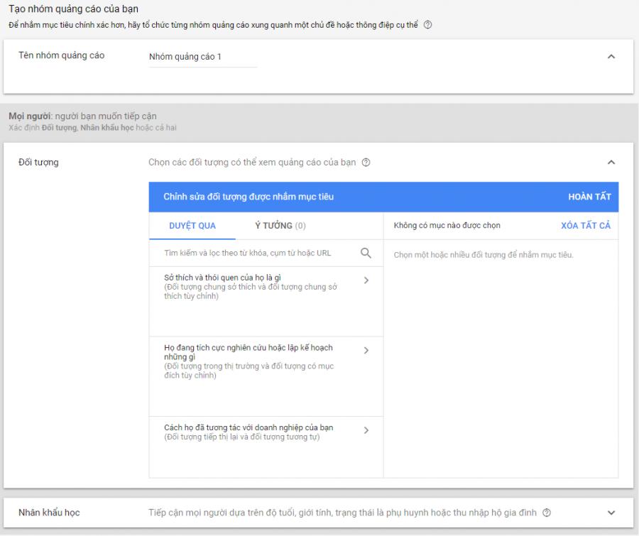 cài đặt quảng cáo google dislay network với thông điệp cụ thể