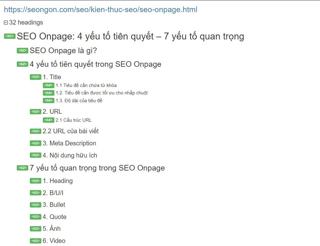 heading seo onpage