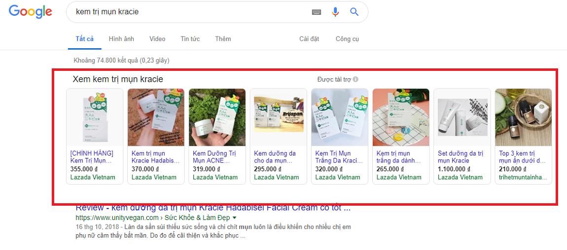 Mỹ phẩm phù hợp chạy google ads shopping