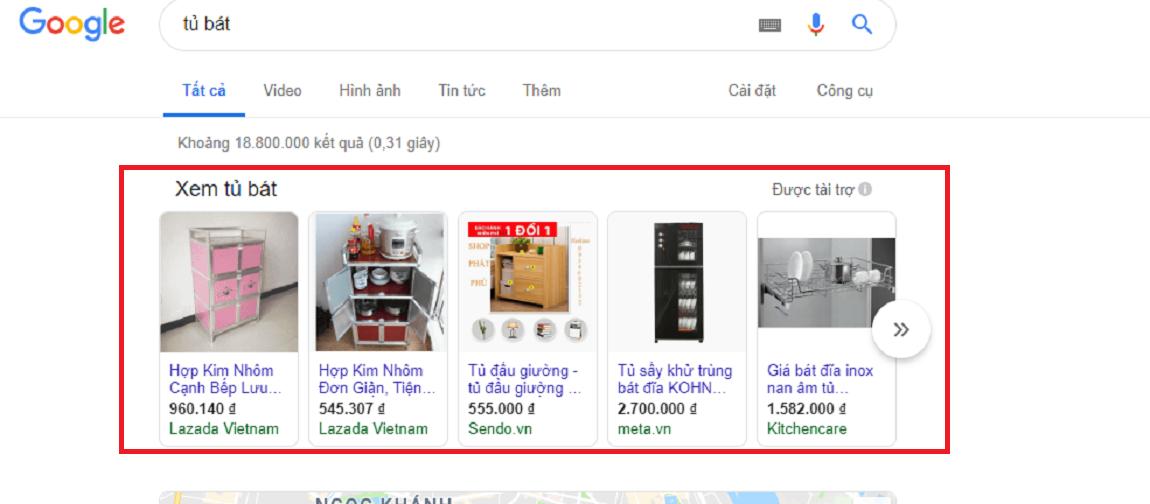 google shopping ads phù hợp ngành nội thất