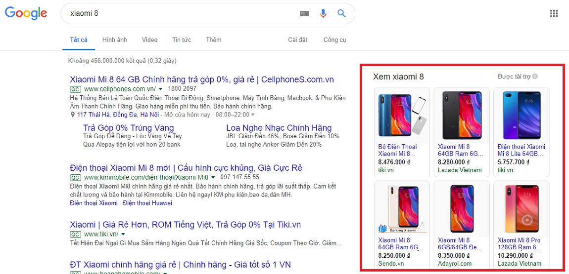 Google shopping ads phù hợp ngành điện thoại