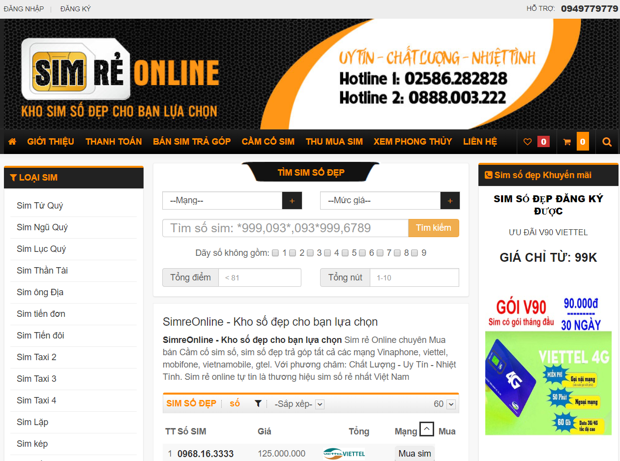 giao diện website bán sim