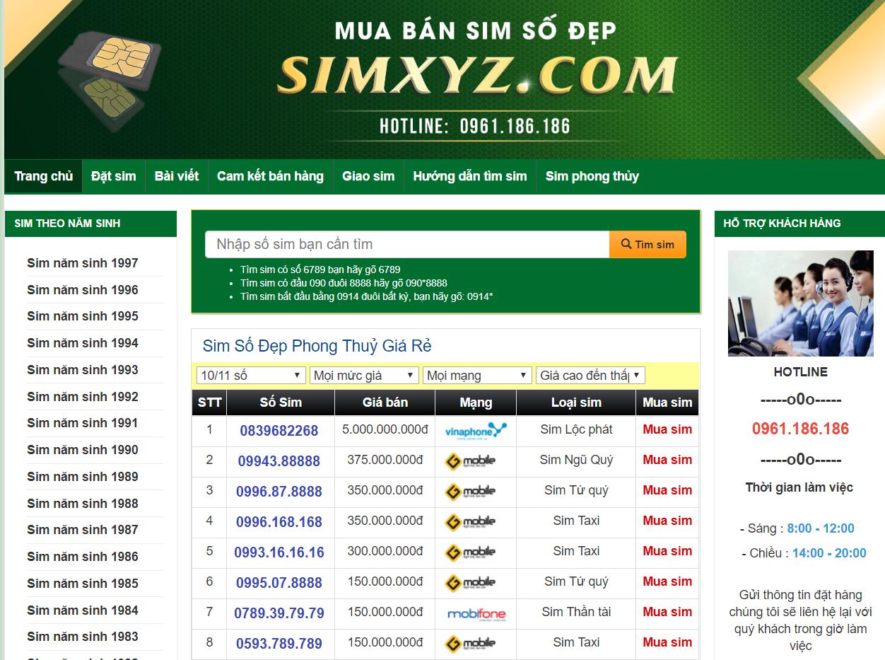 chức năng của website bán sim