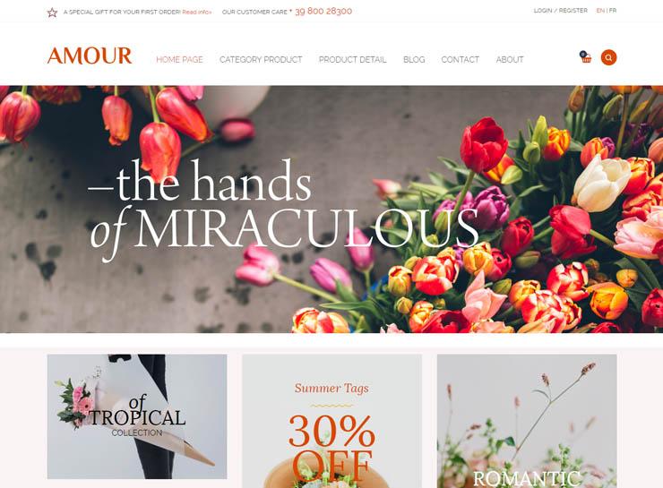 thiết kế website shop hoa Amour