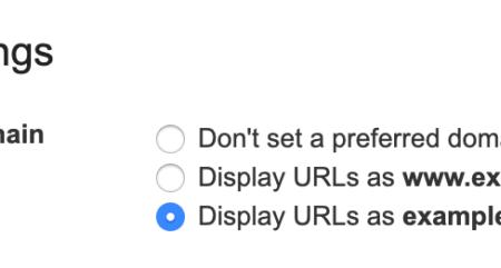 Google Search Console bỏ cài đặt tên miền ưa thích