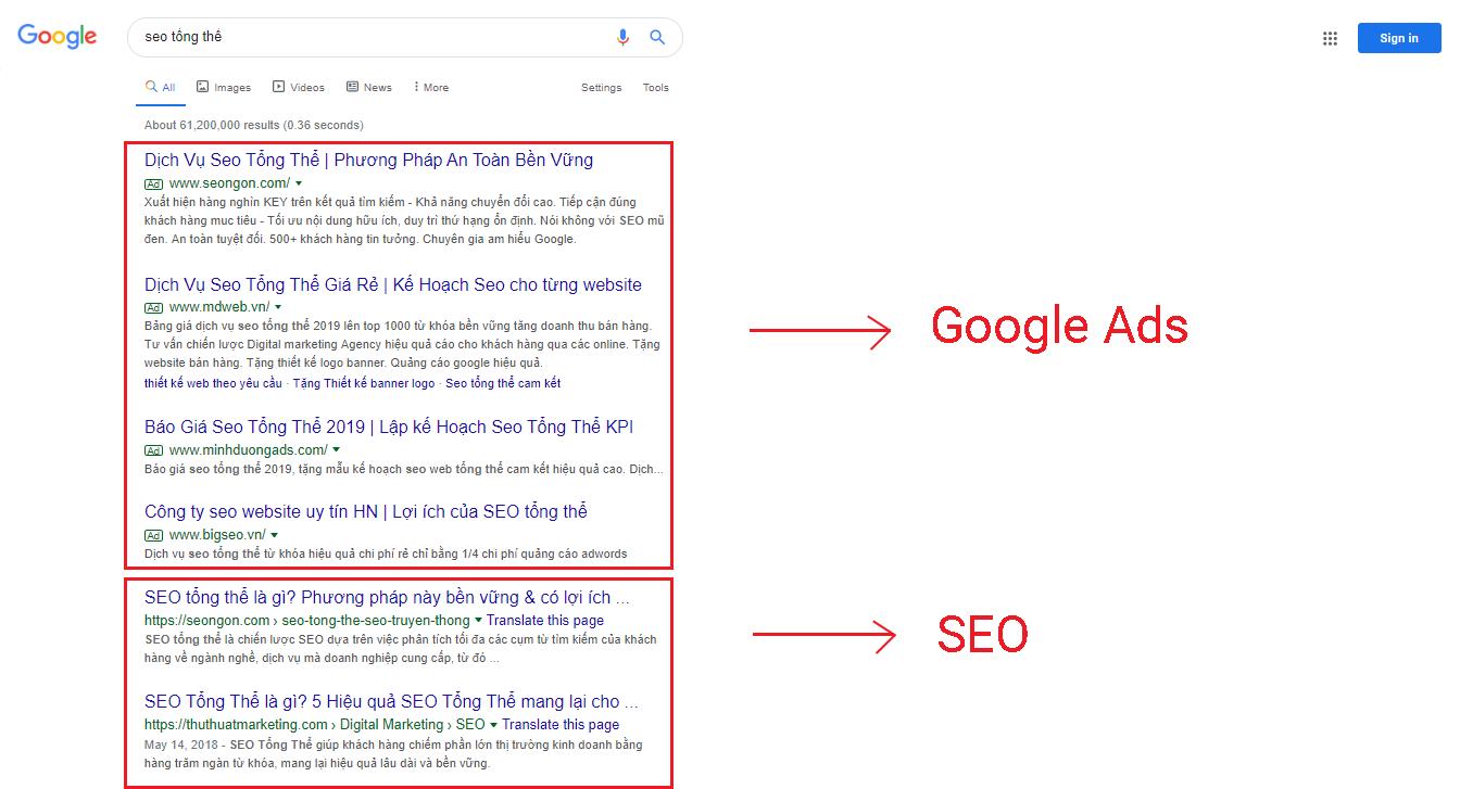 sự khác nhau giữa seo và google adwords