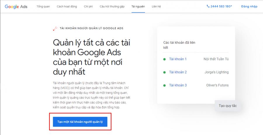 tài khoản quảng cáo Google Ads