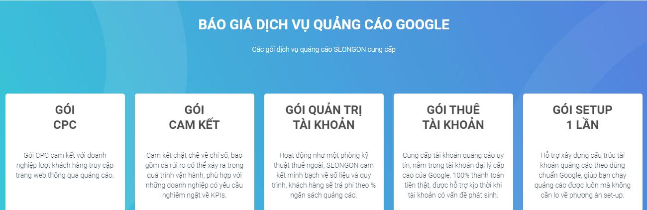 Bảng giá dịch vụ quảng cáo google ads