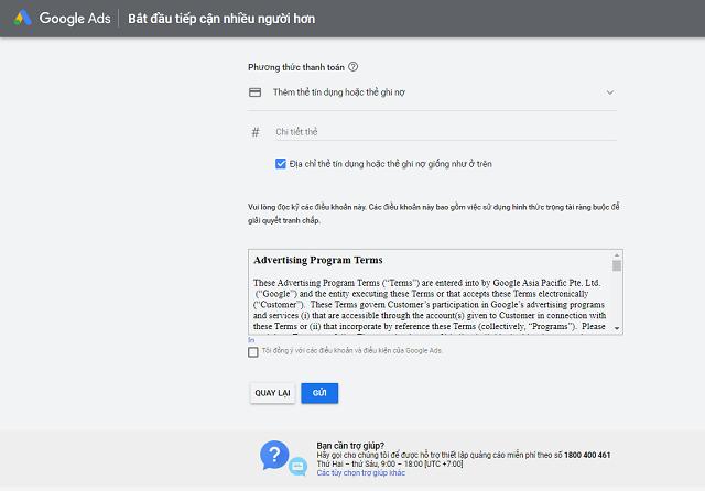 Phương thức thanh toán quảng cáo Google