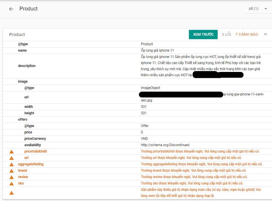 1 ví dụ về lỗi cấu trúc schema được Google thông báo rõ ràng.