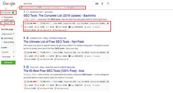 Chỉ số của SERP (Search Engine Results Page) của các trang trong kết quả tìm kiếm Google