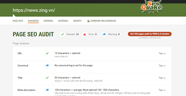 Cửa sổ tính năng Diagnosis - Page Seo Audit