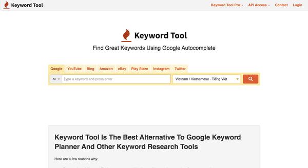 công cụ nghiên nghiên cứu từ khóa keywword tool