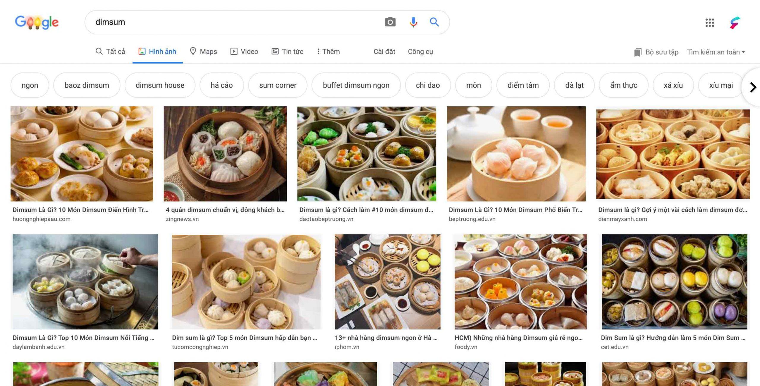 Hình ảnh dimsum trên google