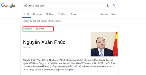 Google hiển thị breadcrumb khi search từ khoá