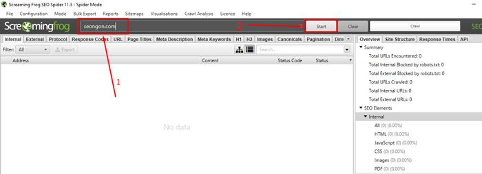 Nhập website kiểm tra vào phần tìm kiếm trên công cụ Screaming Frog