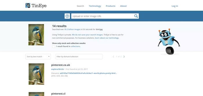 Công cụ tìm kiếm và phân tích hình ảnh: TinEye