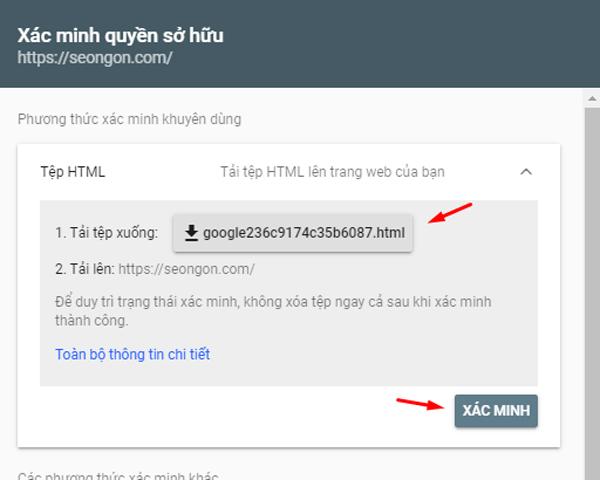 Xác minh Google Search Console bằng tệp html