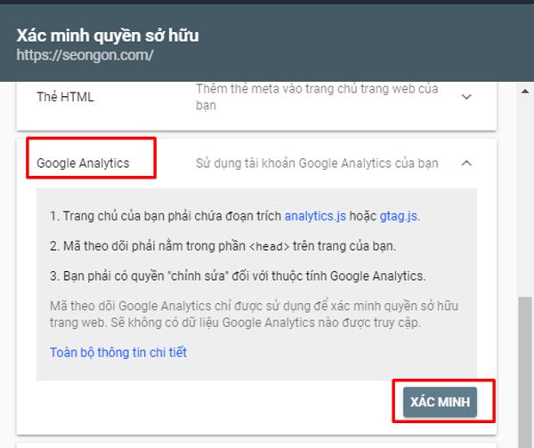 Xác minh quyền sở hữu qua Google Analytics