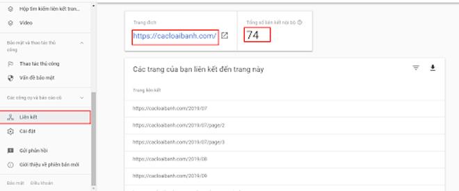 Ví dụ về liên kết nội bộ trong Google Search Console