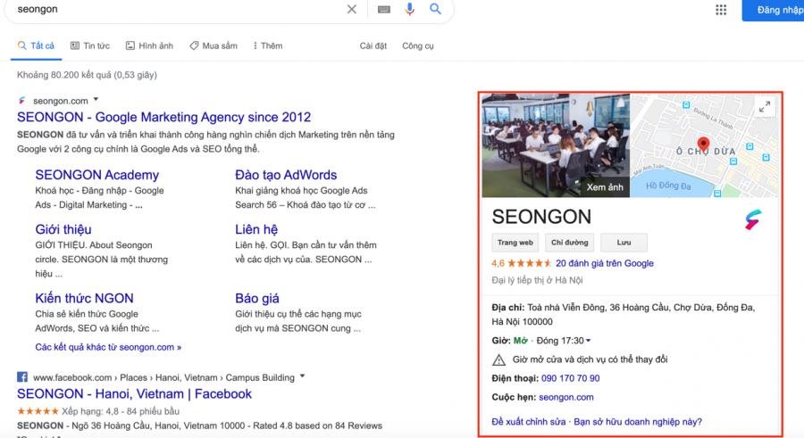 Thông tin doanh nghiệp hiển thị khi người dùng tìm kiếm trên Google Search